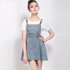 Fashion Women Casual Pleated A-line Vestido Vintage Cute Denim Overall Dress L