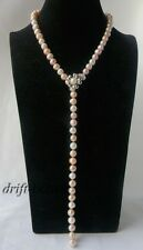 Nature 25'' 10mm Round White Pink Lavender Freshwater Pearl Necklace
