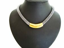Stunning Chunky Unusual Gold Tube Bar Silver Mesh Style Chain Magnetic Necklace