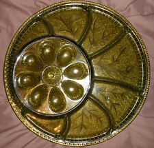 """Indiana Glass Co Egg Tray Plate 13"""" D Green Glass Hors D'Oeuvre Pattern Vintage"""