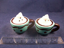 Cracker Barrel Mini Blue Cup of Chocolate & Cream Salt & Pepper Shakers CB104B22