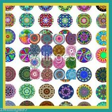 100 Precut assorted MANDALA BOTTLE CAP IMAGES Spiritual Kaleidoscope 1 inch