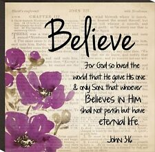 """BELIEVE For God So Loved The World John 3:16 - 5.75"""" x 5.75"""" Mounted Print"""