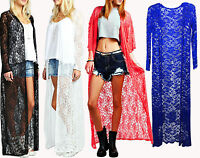 Ladies Celeb Chloe Simms Lace Floral Kimono Womens Long Maxi Cardigan Jacket Top