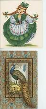 VINTAGE IRISH REDHEAD IRELAND COSTUME DRESS GREEN CLOVERS CARD PRINT & 1 PEACOCK