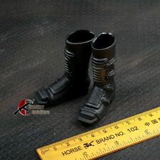 """1/6 Black Motorcycle Boots Action Figure Shoes Hollow For 12"""" Toy Body"""