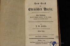 altes Buch Vom Geist der Ebräischen Poesie Herder 1782
