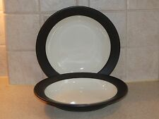NORITAKE CHINA COLORWARE GRAPHITE PAIR RIM SOUP BOWLS 8 5/8""