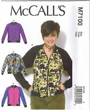 Misses Semi Fitted Bomber Jackets Unlined McCalls Sewing Pattern XS S M 4-14