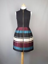 Ted Baker dress Persis block striped zipped black tunic Size 2 UK 10