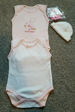 Baby Girls Daisy 2 Pack Bodies Vest by Nursery Time. size 0-3 Months. BRAND NEW.