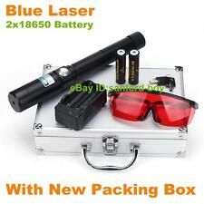 High Power Blue Laser Pointer Beam Pen Torch 2x18650 Battery+Case+Charger+Goggle