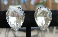 Vintage 1960s Miriam Haskell Clear Crystal Resin Teardrop Rhinestone Earrings