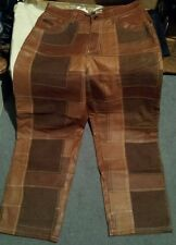 DAVOUCCI BROWN FRONT PATCHWORK LEATHER PANTS MOTORCYCLE RODEO RETAIL 300$ chaps