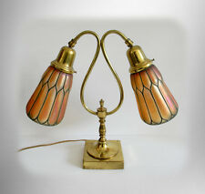 Student vintage desk or table lamp - two art glass shades -  FREE SHIPPING
