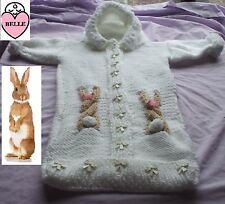 Baby sleeping bag knitting pattern in chunky wool, 3 sizes. Easter bunny.