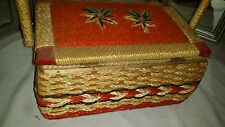 Vintage Sewing Basket Wicker Sewing Box and Assorted Contents
