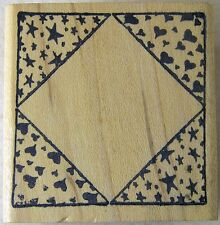 RUBBER STAMP Wood Mounted DIAMOND SHAPED FRAME with HEARTS & STARS 1.5 inches