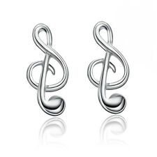 Elegant Music Tone Ear Studs Women's Silver Plated Earrings Jewelrys