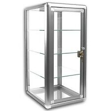 Elegant Silver Anodized Aluminum Vertical Display Case Table Top Tempered Glass