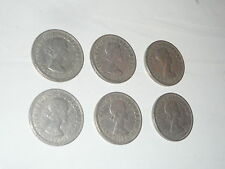 6x 1966 Florin Two Shillings Queen Elizabeth II coins pound sterling MT