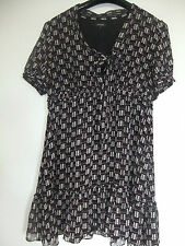 purple/black dress gypsy style with frill and pussy bow sz 18