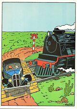 Affiche HERGE   Tintin sur les rails  28x39