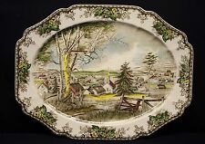 """The Friendly Village Johnson Brothers 20"""" Oval Serving Platter England"""