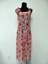 SONIA RYKIEL WhiteRed Flower Prints Cotton Sleeveless Belted Dress sz. 42