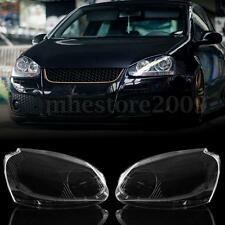 Pair Front Headlight Lens Plastic Cover For VW MK5 Rabbit Jetta GTI 06-09 R32 08
