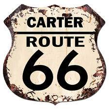 BPHR0046 CARTER ROUTE 66 Shield Rustic Chic Sign  MAN CAVE Funny Decor Gift
