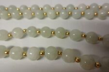 Old 14k Gold Chinese White Grade A Jadeite Jade Long Necklace
