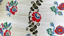 handmade antique table runner rustic ethnic folk embroidered pattern Romania 30s