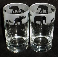 """Hand Etched Pair of """"ELEPHANT HIBALL GLASSES"""" ~  Beautiful Gift or For Keeps"""
