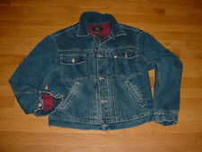 Vtg Polo Ralph Lauren RRL Double RL Denim Jacket Lined Buckle-Back Logo Mens L