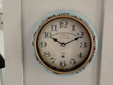Duck Egg Pale Blue Shabby Vintage French Chic Distressed Wall Clock 21cm Retro.