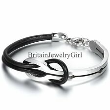 Men Women Half Cuff Love Infinity Black Leather Stainless Steel Bangle Bracelet