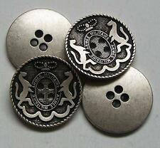 8pc 15mm Rampant Lion Crested Silver Pewter Military 4 Hole Button  2287