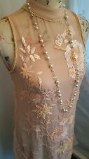 Vtg 1920,s style Downton Gatsby blush pink beaded wedding flapper dress size 8