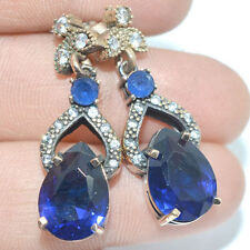 Turkish Sapphire Topaz .925 Sterling Silver Earrings 5ER16 Free Shipping