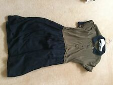New Genuine Carven Polo top/silk skirt khaki/black short sleeve mini dress. L
