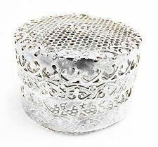 RARE OLD SILVER PLATE MESH JEWELRY OR TRINKET BOX SCARCE EXCELLENT CONDITION