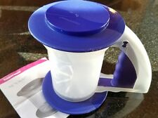 TUPPERWARE Sift N Style #3347 Measuring Sifter Flour Sugar 3 Piece Blue 2 Cups