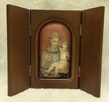 St. Anthony Antique Vintage Religious Framed Silk Shadow Box.