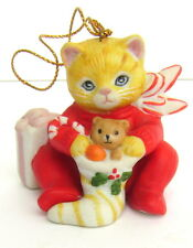 Kitty Cucumber SCHMID Christmas Ornament 1987 Cat Pajamas w/ Stocking Shackman