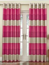 "BRAZIL PINK BEIGE CREAM STRIPED FAUX SILK LINED RING TOP 90"" X 90"" CURTAINS #OIR"