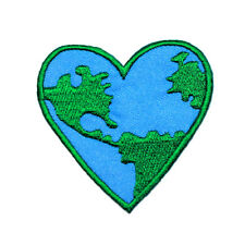 Earth Heart Map World Peace Love Hippy Rock Biker Punk Jeans Shirt Iron on patch