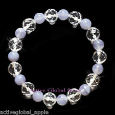 New Natural Blue Lace Agate Cut Facet Clear Rock Quartz Crystal Bracelet Gift M