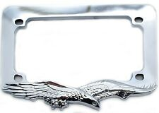 "Chrome ""Eagle"" License Plate Frame For Most Motorcycle Tag Number Brackets"