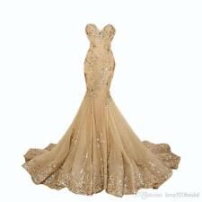 2017 Mermaid Lace Formal Evening Dress Gold Celebrity Pageant Party Prom Gown
